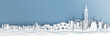 Panorama view of Taipei skyline with world famous landmarks in paper cut style vector illustration