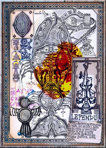 Fotobehang Imagination Manoscritti, disegni e schizzi con segni e simboli esoterici,astrologici e alchemici