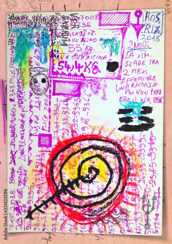 Deurstickers Imagination Manoscritti, disegni e schizzi con segni e simboli esoterici,astrologici e alchemici