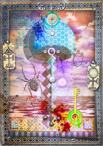 Fotobehang Imagination Fungo magico e psichedelico. Manoscritti, disegni e schizzi con segni e simboli esoterici,astrologici e alchemici