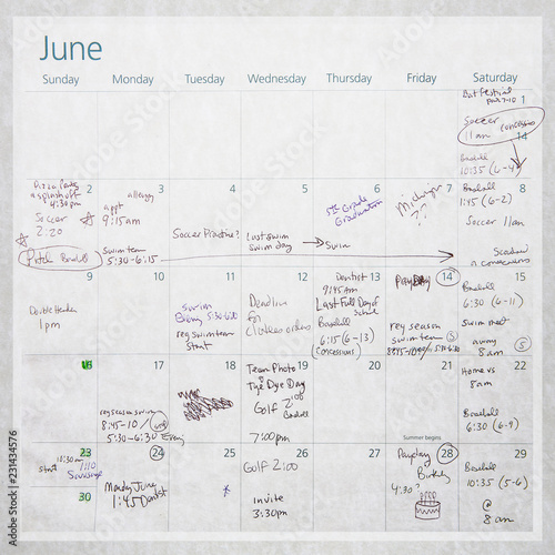 Old Calendar with writing and scribbles, childrens sporting events and activities for June Wall mural
