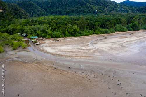 In de dag Route 66 Aerial drone view of the rainforest, mangroves and beaches of the Bako area of Malaysia's Sarawak state in Borneo