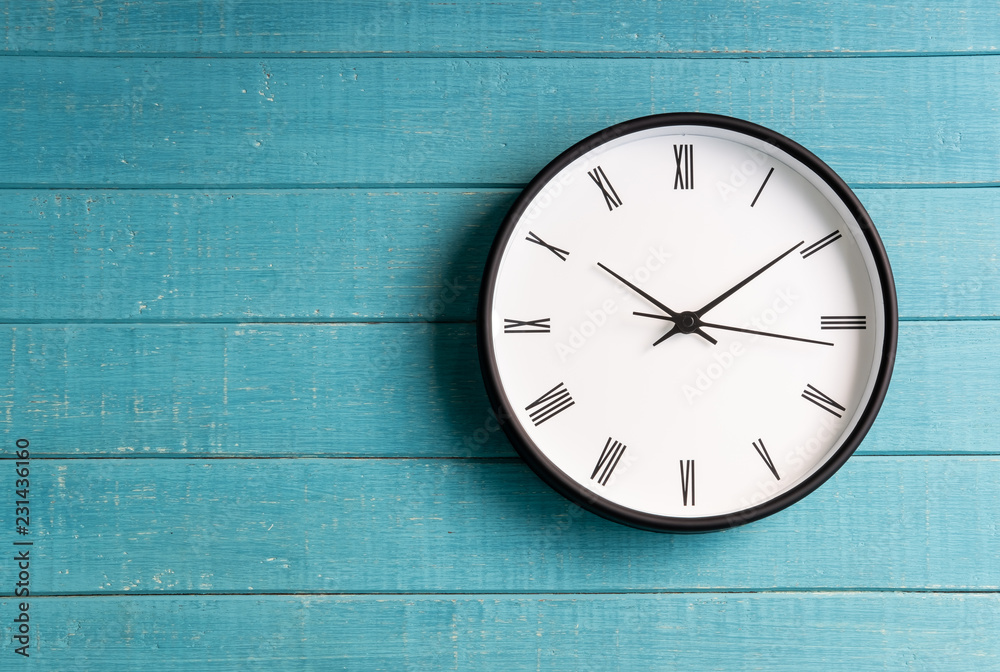 Fototapety, obrazy: Vintage clock with roman numbers on wooden background