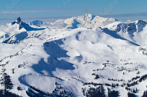 A landscape view of Whistler Mountain and the neighbourhood mountains in British Columbia