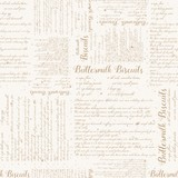 Seamless Vector Vintage Buttermilk Biscuits Textured Recipe Print in Light Brown with Aged Spots - 231440933