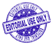 EDITORIAL USE ONLY Stamp Seal Watermark With Grunge Texture. Designed With Rounded Rectangles And Circles. Blue Vector Rubber Print Of EDITORIAL USE ONLY Title With Dust Texture.