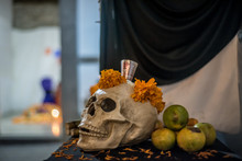 Mexican Altar, Day Of The Dead, Candles, Papel Picado, Calaveras, Halloween, Catrinas, Veladores, Dark, Terror, Horror Stories, Ghosts, Religion, Cult, Devils, Los Angeles, Saints, Mexican Art