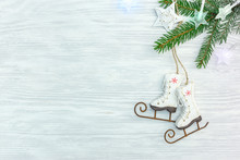 White Wooden Background With G...