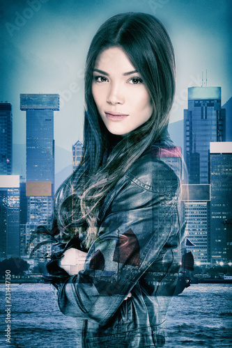 Action movie mysterious Asian actress woman double exposure on nightlife cityscape of Hong Kong city at night Canvas Print