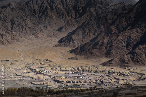 Foto op Canvas Zwart City scape of leh Ladakh with daylight