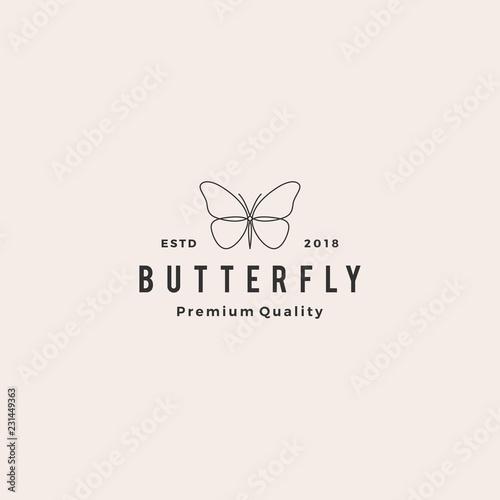 Fototapeta butterfly logo vector line outline monoline icon illustration obraz