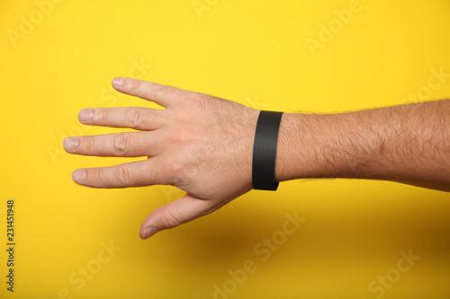 Canvas Print Black blank bracelet on hand