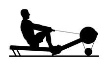 Sport Man Doing Seated Cable Row In Gym Vector Silhouette Illustration. Low Cable Pulley Row Seated. Fitness Instructor Demonstration. Personal Trainer Exercise On Simulator Gym Machine. Health Care.