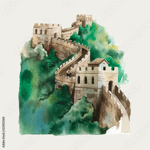 The Great Wall of China watercolor illustration Fototapet