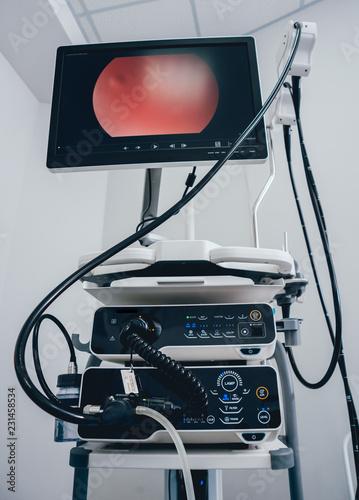 Fotografía  Modern endoscopy equipment kit. Video endoscopy system.