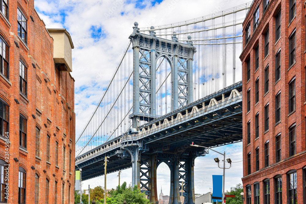 Fototapety, obrazy: DUMBO district in Brooklyn. NEW YORK, USA. Dumbo is a neighborhood in the New York City borough of Brooklyn. Red buildings and Manhattan Bridge..