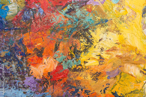 Oil paint background for text or image. Abstract oil paint texture. Multicolored scratched background.