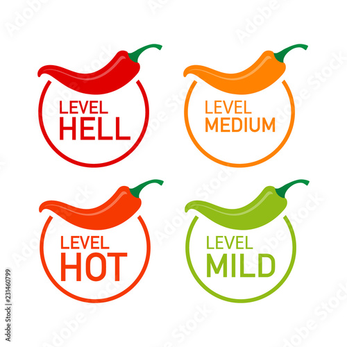 Hot red pepper strength scale indicator with mild, medium, hot and hell positions. Vector illustration. Wall mural