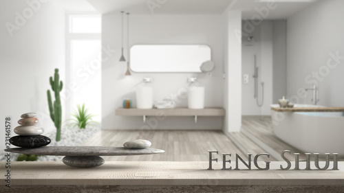Photo  Wooden vintage table shelf with stone balance and 3d letters making the word fen