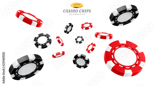 Billede på lærred 3d casino chips or flying realistic tokens for gambling, entertainment house volumetric blank or empty cash for roulette or poker, blackjack