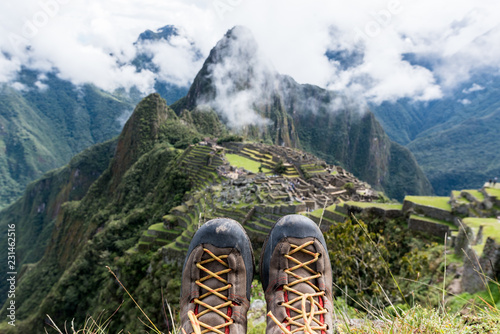 Photo Stands South America Country Travel destination Machu Picchu Inca ruins in Peru South America