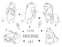 Vector Set Of Hand Drawn Cute Unicorns On Withe Background. Cartoon Style. Monochrome.