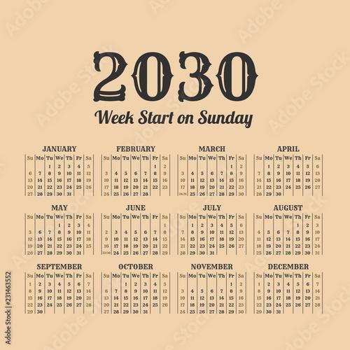 Fotografia  2030 year vintage calendar. Weeks start on sunday