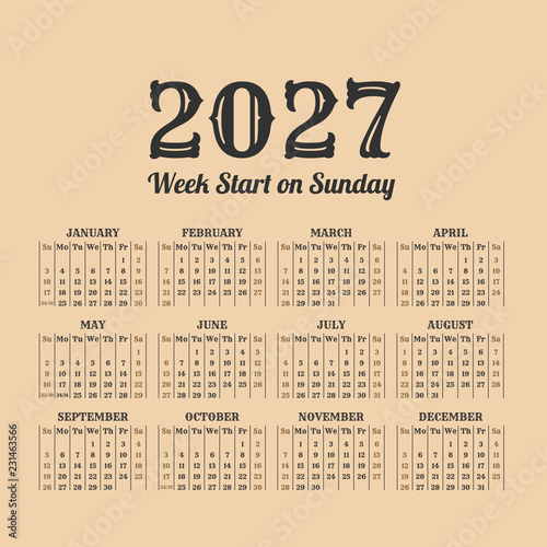 Fotografia  2027 year vintage calendar. Weeks start on sunday