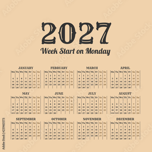 Fotografia  2027 year vintage calendar. Weeks start on monday