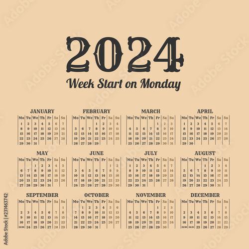 Fotografia  2024 year vintage calendar. Weeks start on monday