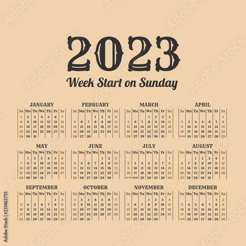 Fotografia  2023 year vintage calendar. Weeks start on sunday