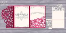 Die Laser Cut Wedding Card Vector Template. Invitation Pocket Tri Fold Envelope With Roses Pattern. Wedding Lace Invitation Mockup.