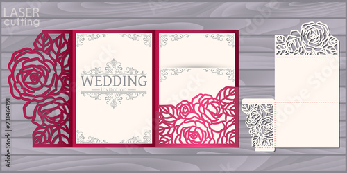 Die laser cut wedding card vector template Wallpaper Mural
