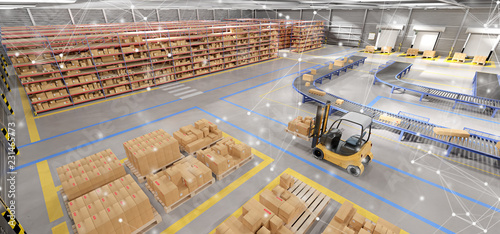 Obraz Connection over a warehouse goods stock background 3d rendering - fototapety do salonu