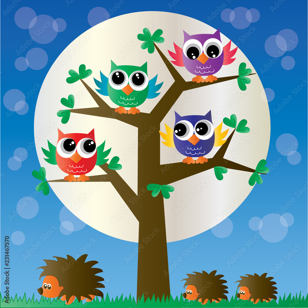 colorful owls sitting in tree header or banner
