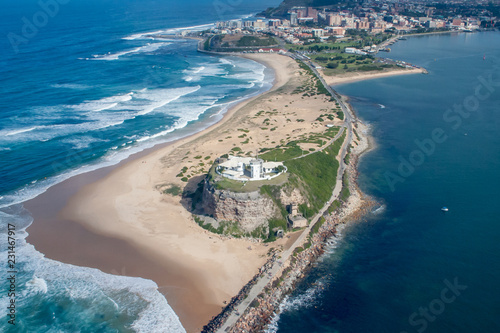 Foto op Aluminium Oceanië Nobbys Lighthouse - Newcastle Australia aerial view. Nobbys Lighthouse is a famous local landmark in the Harbour city of Newcastle NSW Australia