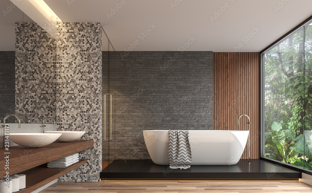 Fototapeta Modern contemporary bathroom 3d render. There are gray nature stone brick wall, wood floor.The room has large windows. Looking out to see the garden view.