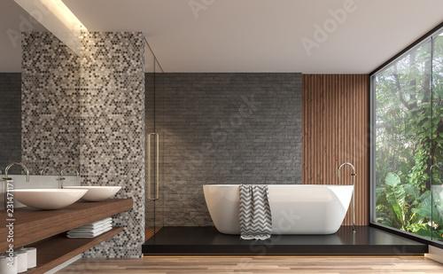 Modern contemporary bathroom 3d render Poster Mural XXL