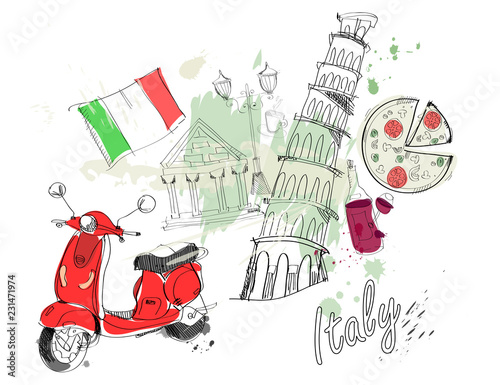 Italy. Colored vector set