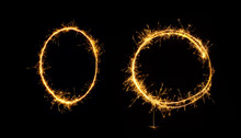 Sparkler Oval And Circle Isolated On Black Background