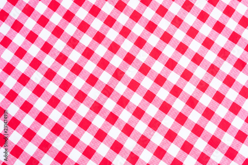 Photo  Texture of red and white checked textile background