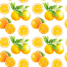 Orange Seamless Pattern. Orange Fruit Hand Draw Watercolor Illustration.