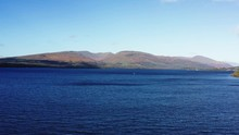 Rising Aerial View Of Loch Lomand In Scotland