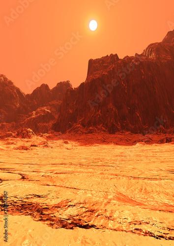 Fotografie, Obraz  3D Rendering Planet Mars Lanscape