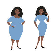 Plump Black Woman In A Blue Dress Isolated On A White Background And The Same Woman After Losing Weight. Vector Illustration.