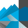 Abstract mountains and road. Vector flat design