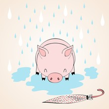 Vector Cute Autumn Illustration With Pig And Rain.