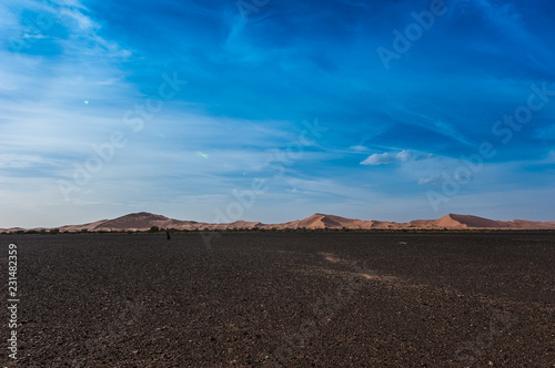 Keuken foto achterwand Cappuccino View of Merzouga dunes and black desert, southern Morocco