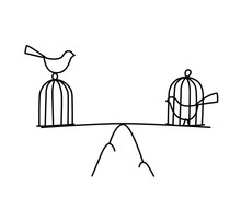 Illustration Of A Bird In A Cage And At Large. Vector. Freedom And Prison. The Balance Between Freedom And Imprisonment. Metaphor. Linear Style. Illustration For Website Or Poster.
