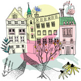 Ręcznie rysowane graficzny ilustracja. Karta starego miasta wektor - 231484356